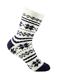 Women's Snowflakes Double Layer Shea Butter Infused Slipper Socks