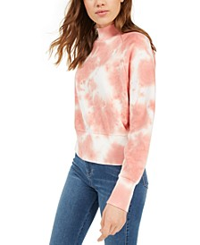 Juniors' Mock-Neck Tie-Dyed Sweatshirt