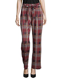 Tie-Front Plaid Pull-On Pants