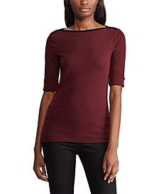 Velvet-Trim Boatneck Top