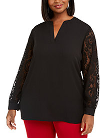 Anne Klein Plus Size Lace Sleeve Top