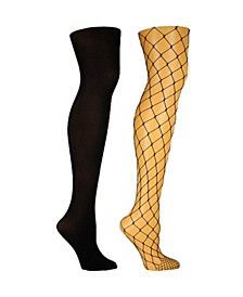 Women's 2 Pack Large Fishnet and Solid Opaque Tights, Online Only