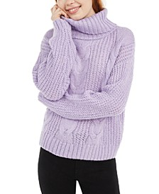Juniors' Metallic Turtleneck Sweater