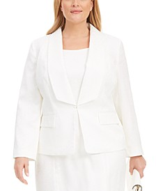 Plus Size Shawl-Collar Animal-Print Jacquard Blazer