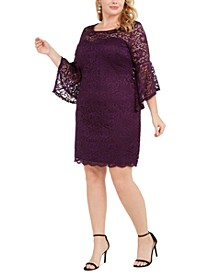 Trendy Plus Size Bell-Sleeve Lace Dress