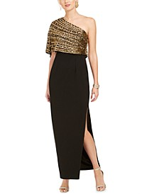 One-Shoulder Capelet Overlay Gown