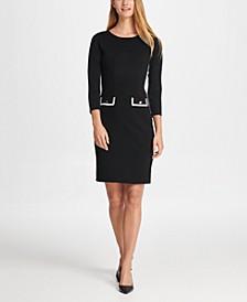 Elbow Sleeve Sheath with Pocket Detail Dress