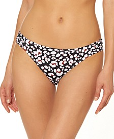 Cool Cat Printed Shirred Hipster Bikini Bottoms