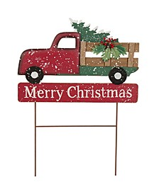 """24.02"""" H Metal Two Function Christmas Truck Yard Stack"""