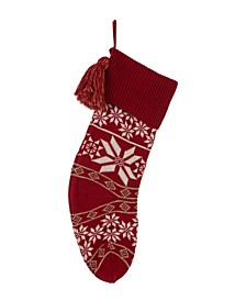 """24"""" L Knitted Snowflake Acrylic Christmas Stocking"""
