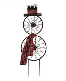 "36.63"" H Metal Bike Wheel Snowman with Plaid Scarf Yard Stake"
