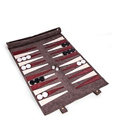 Suede Roll-Up Backgammon Travel Set with Playing Pieces Included