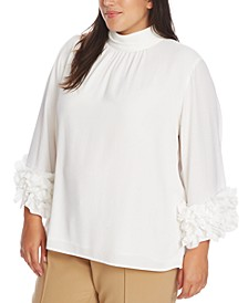 Plus Size Ruffle Sleeve Blouse