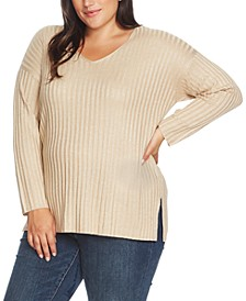 Plus Size Metallic Ribbed Sweater