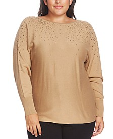 Plus Size Rhinestone Embellished V-Back Top