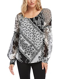Printed Bishop-Sleeve Top