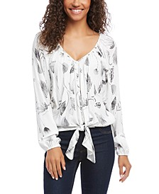 Printed Tie-Front Top