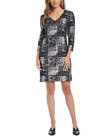 Metallic-Print Sheath Dress