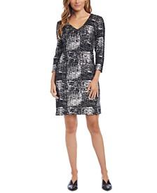Metallic-Print Sheath Dress
