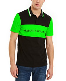 Men's Hyperbright Regular-Fit Colorblocked Logo-Print Polo Shirt, Created for Macy's