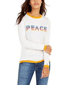 Rainbow Peace Ringer Sweater