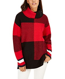 Cowlneck Plaid Sweater