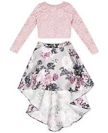 Big Girls 2-Pc. Lace & Floral-Print High-Low Dress