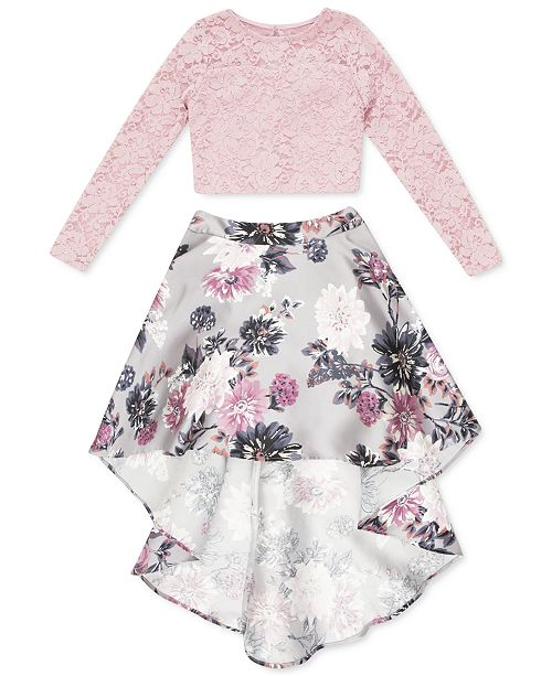 Speechless Big Girls 2-Pc. Lace & Floral-Print High-Low Dress