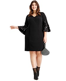 Plus Size Sequined Bell-Sleeve Dress