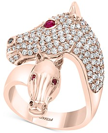 EFFY® Diamond (1-1/6 ct. t.w.) & Certified Ruby (1/10 ct. t.w.) Horse Ring in 14k Rose Gold