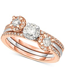 3-Pc. Set Diamond Stack Rings (3/4 ct. t.w.) in 14k White Gold & Rose Gold