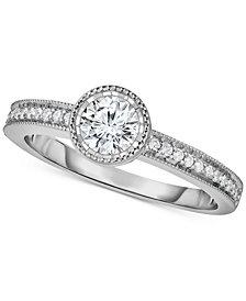 TruMiracle® Diamond Milgrain Beaded Edge Engagement Ring (5/8 ct. t.w.) in 14k White Gold