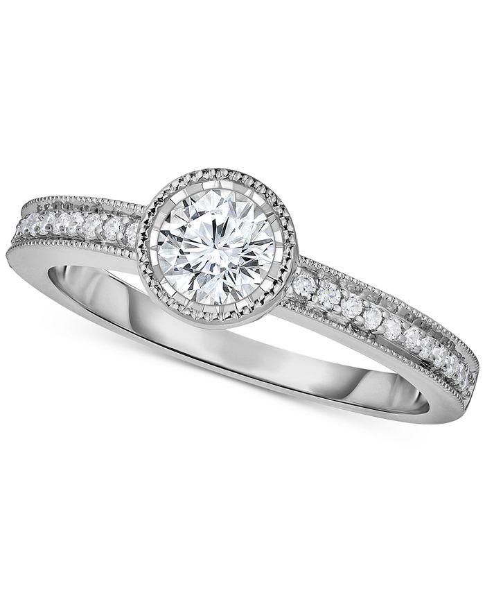Macy's - Diamond Milgrain Beaded Edge Engagement Ring (5/8 ct. t.w.) in 14k White Gold