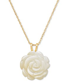 "Mother-of-Pearl Rose 18"" Pendant Necklace in 10k Gold"