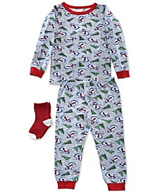 Baby & Toddler Boys 3-Pc. Snowman-Print Pajamas & Socks Set