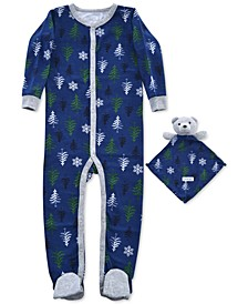 Baby Boys 2-Pc. Tree-Print Footed Coverall Pajama & Bear Blankie Baby Set