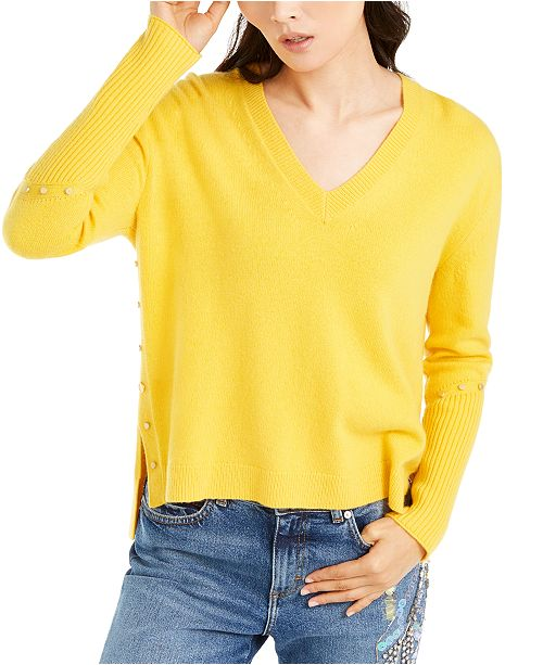 Escada V-Neck Rivet Sweater