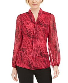 Snake-Embossed Tie-Neck Blouse