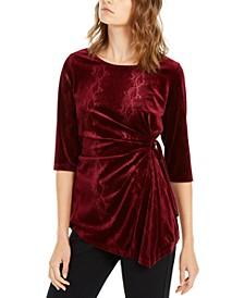 Snakeskin-Print Side-Tie Velvet Top, Created For Macy's