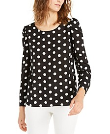 Polka Dot Puff-Sleeve Blouse, Created For Macy's