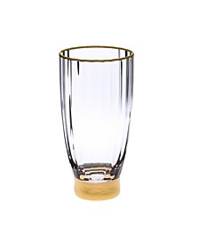 Set of 6 Straight Line Textured Water Tumblers with Vivid Gold Tone Base and Rim