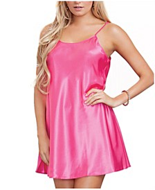 Women's Ultra Soft Satin Chemise with Adjustable Straps