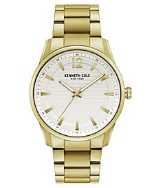 Men's Gold-Tone Stainless Steel Bracelet Watch, 42mm