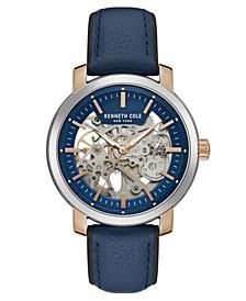 Men's Blue Genuine Leather Strap Watch, 42.5mm