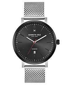 Men's Silver-Tone Stainless Steel Mesh Watch, 42mm