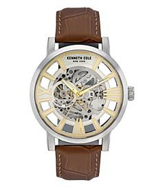 Men's Brown Genuine Leather Strap Watch, 46mm