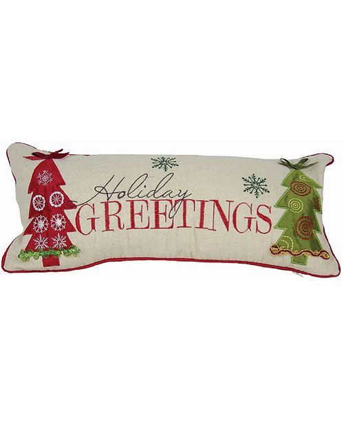 "Manor Luxe Happy Holiday Pillow Collection, 18"" x 8"""