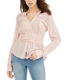 Juniors' Textured Lace-Trimmed Peplum Top, Created For Macy's
