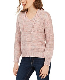 Juniors' Mixed-Knit Pullover Hoodie, Created For Macy's
