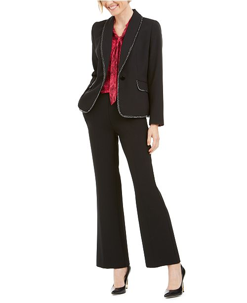 Kasper Chain-Trim Jacket, Snake Print Blouse and Stretch Crepe Pants